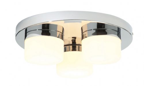 Chrome effect plate & matt opal duplex glass Semi Flush IP44 Light BX34200-17  (Double Insulated)